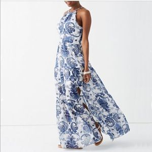 Bisou Bisou Halter Tiered Maxi Dress